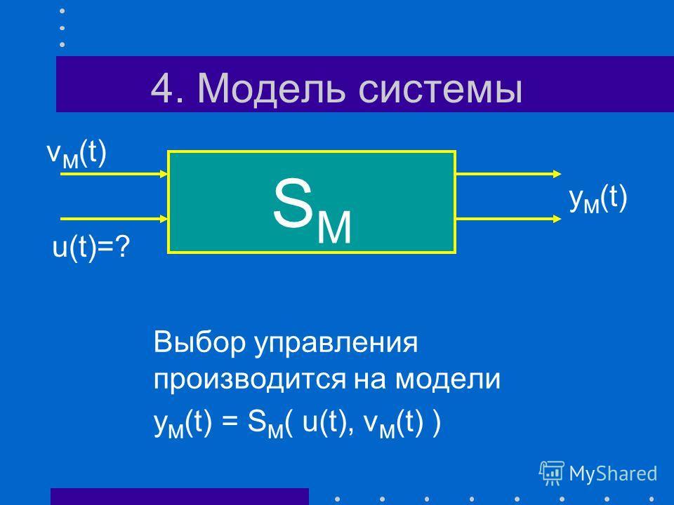 3. Управляющее воздействие Проблема выбора управляющего воздействия, с помощью которого «реализуется» цель управления S u*(t)=? v(t) y*(t)