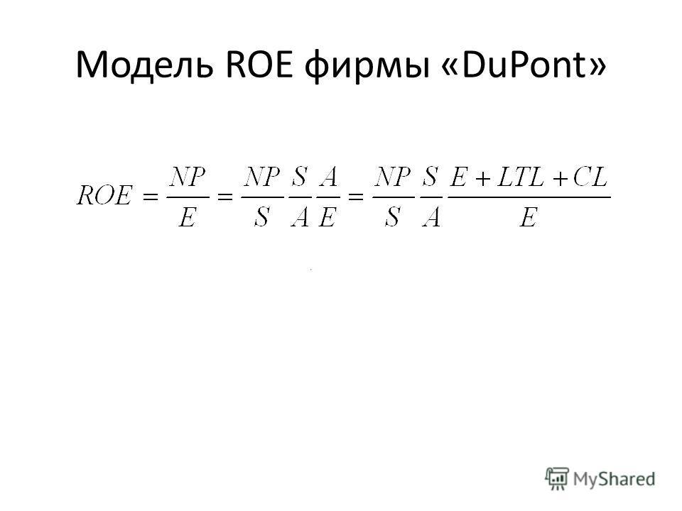 Модель ROE фирмы «DuPont»