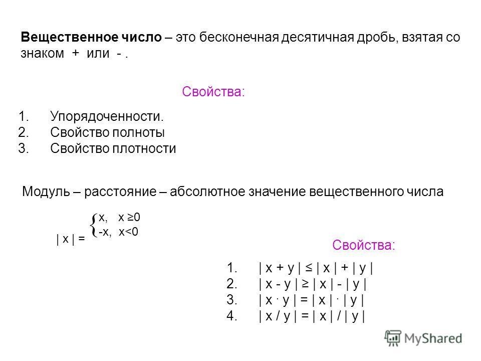 Вещественное число – это бесконечная десятичная дробь, взятая со знаком + или -. Свойства: 1.Упорядоченности. 2.Свойство полноты 3.Свойство плотности Модуль – расстояние – абсолютное значение вещественного числа Свойства: 1.| x + y | | x | + | y | 2.