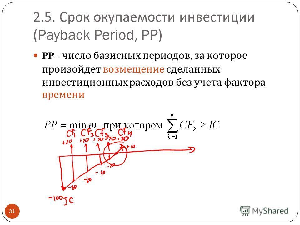 2.5. Срок окупаемости инвестиции (Payback Period, PP) 31 PP - число базисных периодов, за которое произойдет возмещение сделанных инвестиционных расходов без учета фактора времени