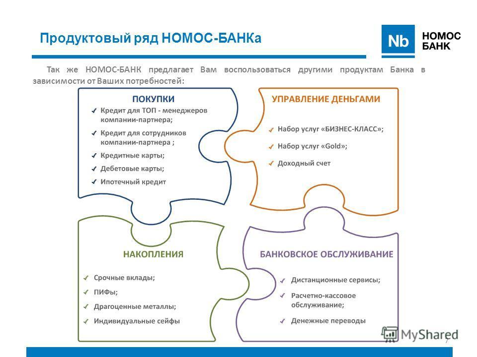 7 Продуктовый ряд НОМОС-БАНКа Так же НОМОС-БАНК предлагает Вам воспользоваться другими продуктам Банка в зависимости от Ваших потребностей: