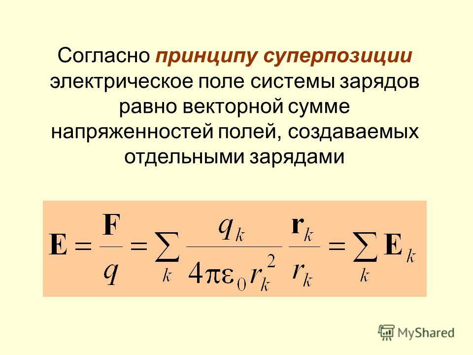 Согласно принципу суперпозиции электрическое поле системы зарядов равно векторной сумме напряженностей полей, создаваемых отдельными зарядами