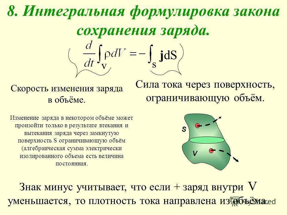 8. Интегральная формулировка закона сохранения заряда. jdЅjdЅ s v Изменение заряда в некотором объёме может произойти только в результате втекания и вытекания заряда через замкнутую поверхность S ограничивающую объём (алгебраическая сумма электрическ