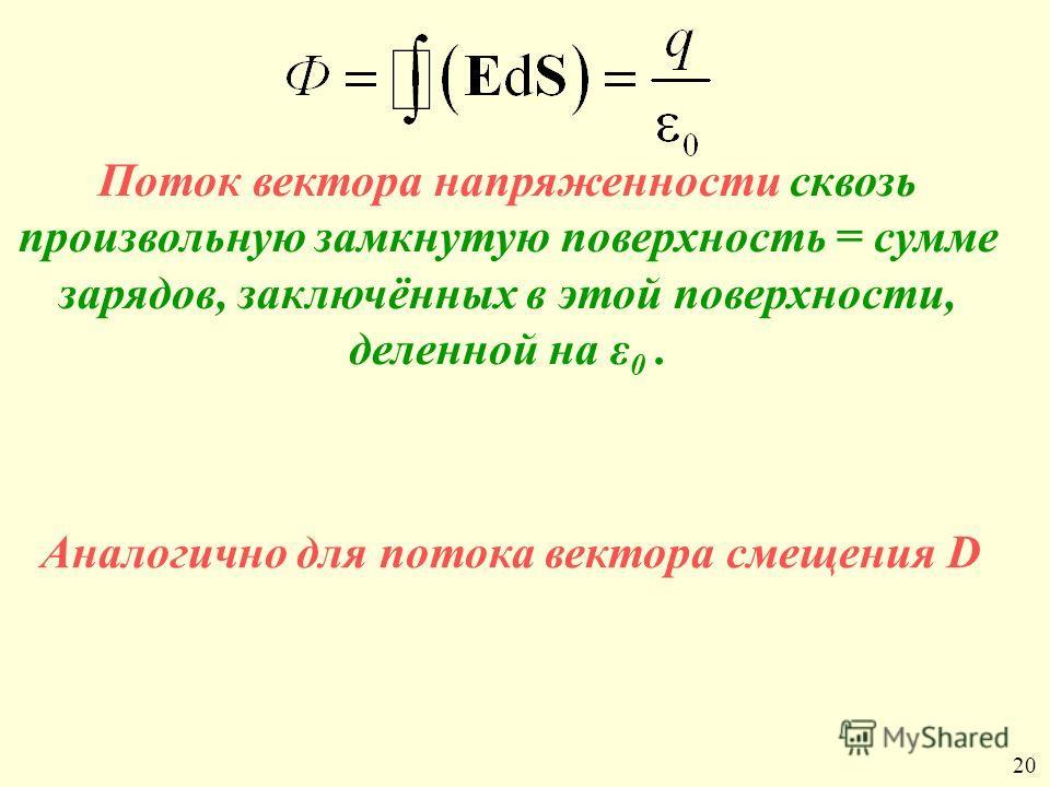 Поток вектора напряженности сквозь произвольную замкнутую поверхность = сумме зарядов, заключённых в этой поверхности, деленной на ε 0. Аналогично для потока вектора смещения D 20