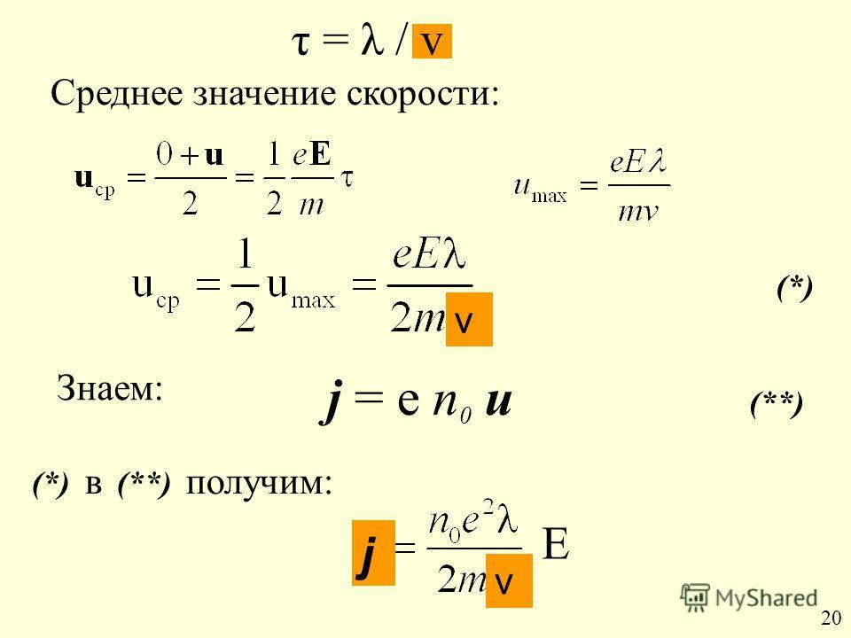τ = λ / v j = е n 0 u (**) Среднее значение скорости: Знаем: (*) в (**) получим: (*) Е 20 v v j