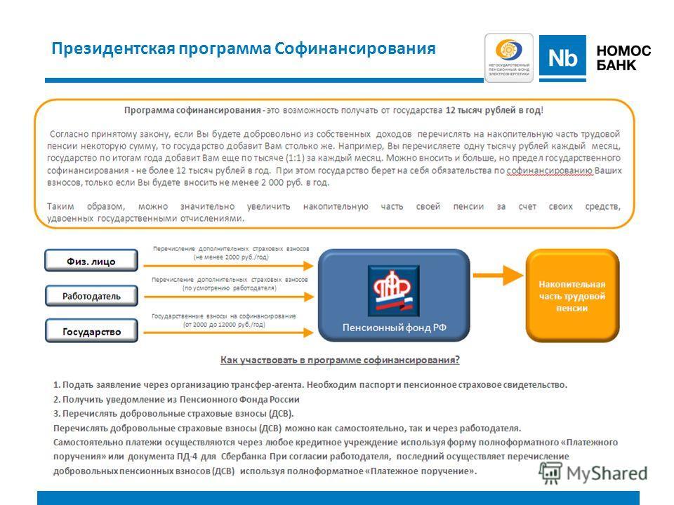 Президентская программа Софинансирования