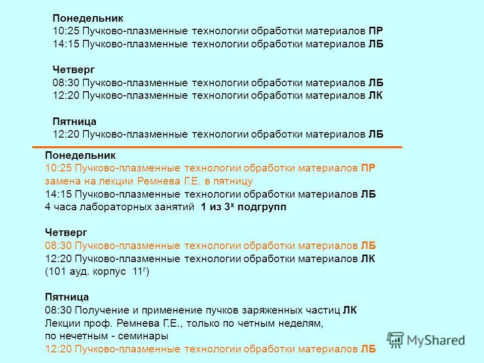 Понедельник 10:25 Пучково-плазменные технологии обработки материалов ПР 14:15 Пучково-плазменные технологии обработки материалов ЛБ Четверг 08:30 Пучково-плазменные технологии обработки материалов ЛБ 12:20 Пучково-плазменные технологии обработки мате