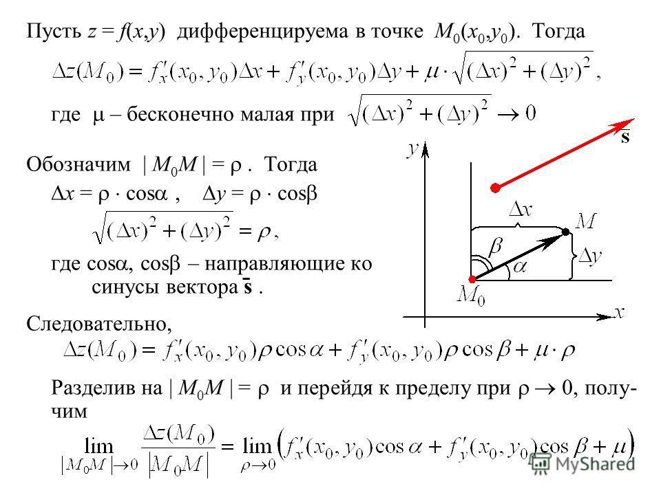 Пусть z = f(x,y) дифференцируема в точке M 0 (x 0,y 0 ). Тогда где – бесконечно малая при Обозначим | M 0 M | =. Тогда x = cos, y = cos где cos, cos – направляющие ко синусы вектора s ̄. Следовательно, Разделив на | M 0 M | = и перейдя к пределу при