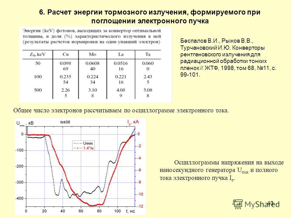 43 6. Расчет энергии тормозного излучения, формируемого при поглощении электронного пучка Общее число электронов рассчитываем по осциллограмме электронного тока. Осциллограммы напряжения на выходе наносекундного генератора U емк и полного тока электр