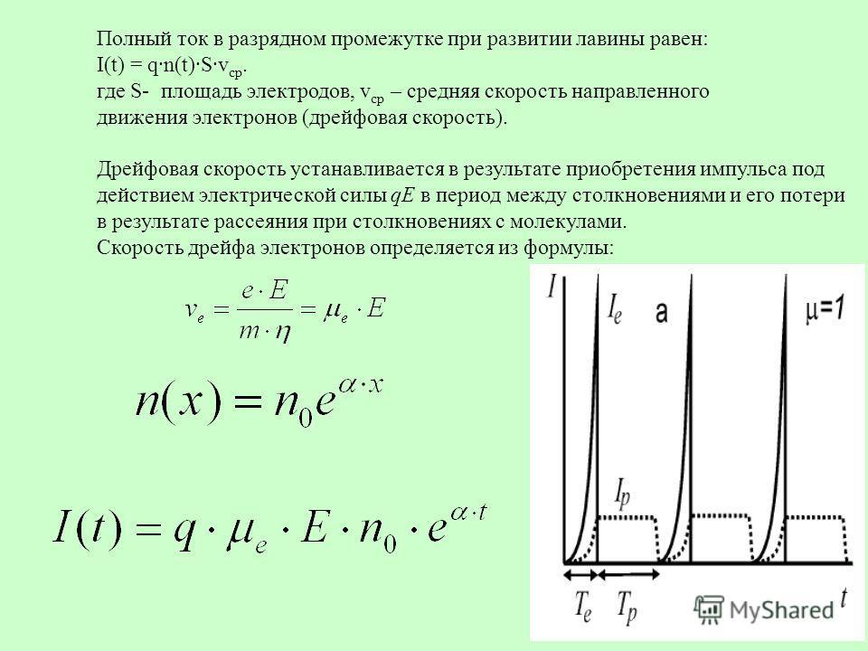 30 Полный ток в разрядном промежутке при развитии лавины равен: I(t) = q·n(t)·S·v ср. где S- площадь электродов, v ср – средняя скорость направленного движения электронов (дрейфовая скорость). Дрейфовая скорость устанавливается в результате приобрете