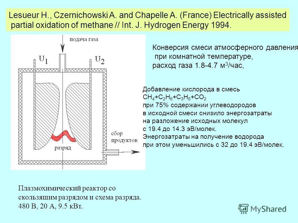 Lesueur H., Czernichowski A. and Chapelle A. (France) Electrically assisted partial oxidation of methane // Int. J. Hydrogen Energy 1994. Плазмохимический реактор со скользящим разрядом и схема разряда. 480 В, 20 А, 9.5 кВт. Конверсия смеси атмосферн