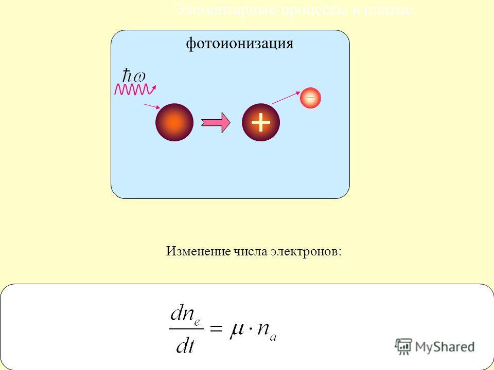 17 Элементарные процессы в плазме Изменение числа электронов: фотоионизация