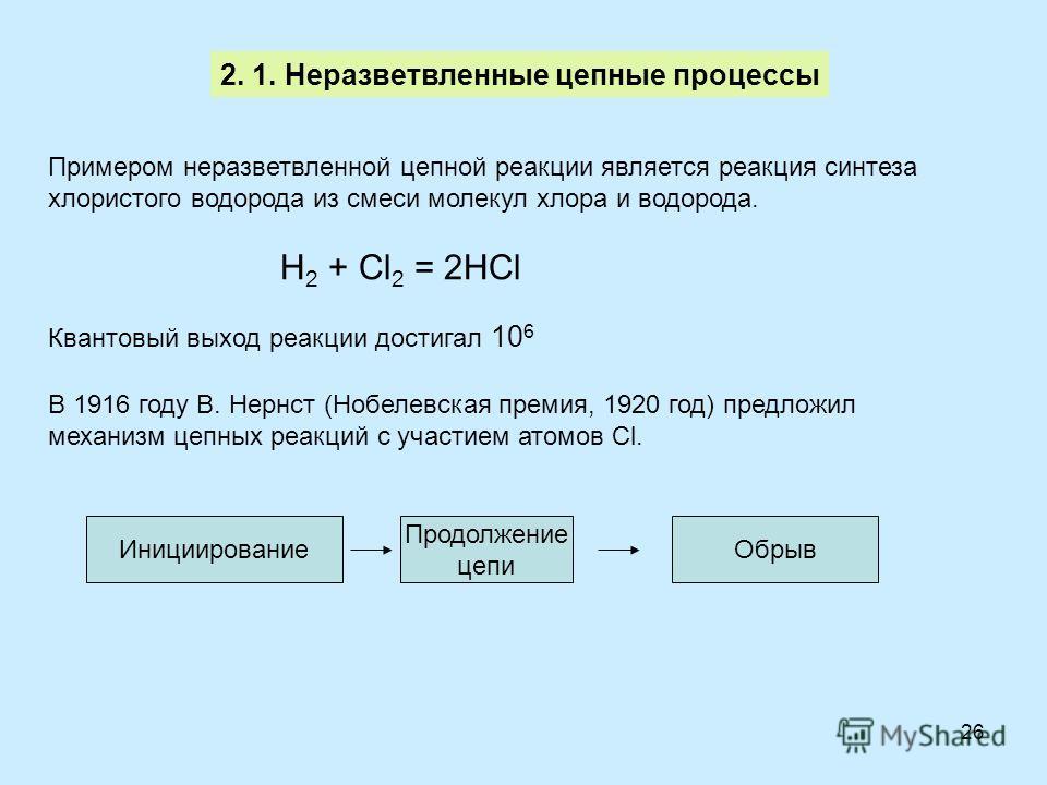 26 2. 1. Неразветвленные цепные процессы Примером неразветвленной цепной реакции является реакция синтеза хлористого водорода из смеси молекул хлора и водорода. H 2 + Cl 2 = 2HCl Квантовый выход реакции достигал 10 6 В 1916 году В. Нернст (Нобелевска