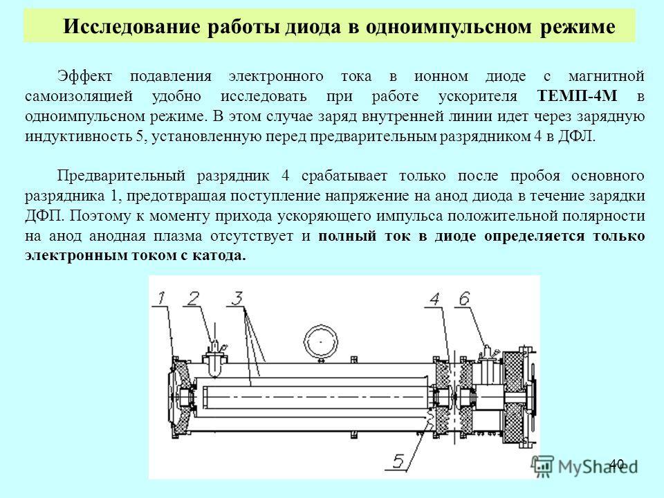 40 Эффект подавления электронного тока в ионном диоде с магнитной самоизоляцией удобно исследовать при работе ускорителя ТЕМП-4М в одноимпульсном режиме. В этом случае заряд внутренней линии идет через зарядную индуктивность 5, установленную перед пр