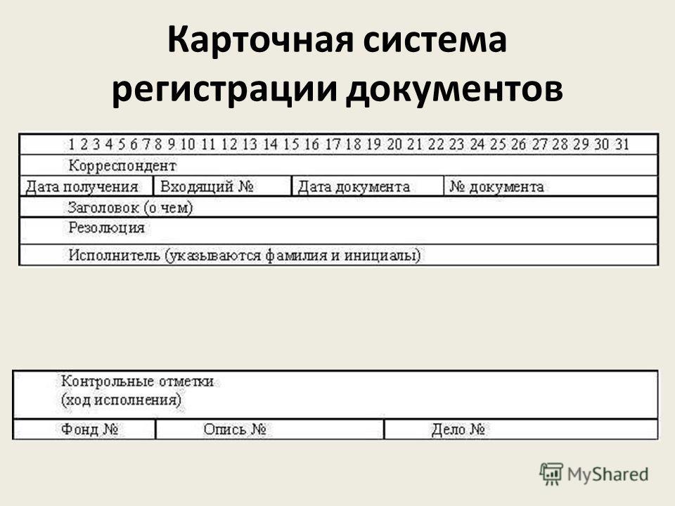 Карточная система регистрации документов