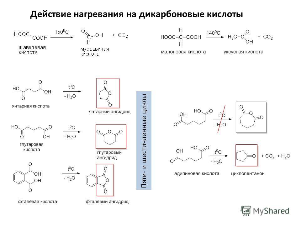 Действие нагревания на дикарбоновые кислоты Пяти- и шестичленные циклы