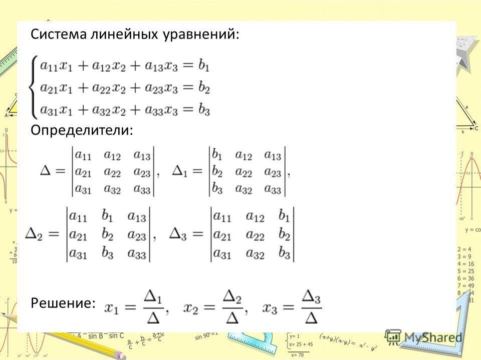 Система линейных уравнений: Определители: Решение: