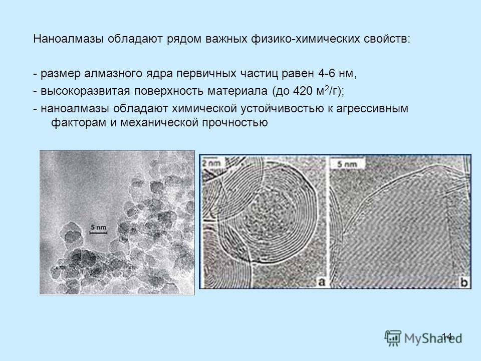 14 Наноалмазы обладают рядом важных физико-химических свойств: - размер алмазного ядра первичных частиц равен 4-6 нм, - высокоразвитая поверхность материала (до 420 м 2 /г); - наноалмазы обладают химической устойчивостью к агрессивным факторам и меха