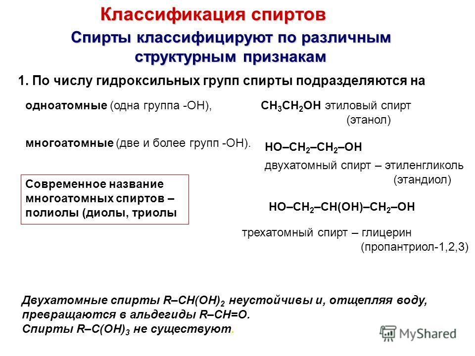 Классификация спиртов Спирты классифицируют по различным структурным признакам структурным признакам 1. По числу гидроксильных групп спирты подразделяются на одноатомные (одна группа -ОН),CH 3 CH 2 OH этиловый спирт (этанол) многоатомные (две и более