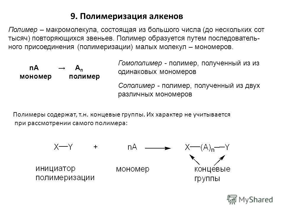 9. Полимеризация алкенов Полимер – макромолекула, состоящая из большого числа (до нескольких сот тысяч) повторяющихся звеньев. Полимер образуется путем последователь- ного присоединения (полимеризации) малых молекул – мономеров. nA A n мономер полиме