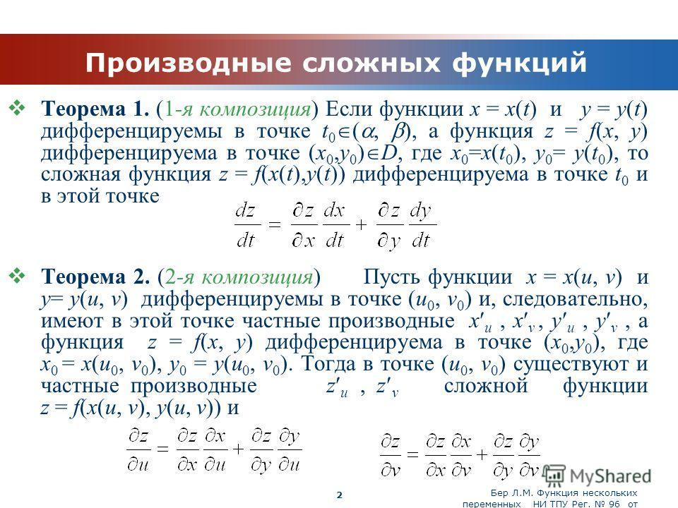 Бер Л.М. Функция нескольких переменных НИ ТПУ Рег. 96 от 19.03.2010 Company Logo 2 Производные сложных функций Теорема 1. (1-я композиция) Если функции x = x(t) и y = y(t) дифференцируемы в точке t 0 (, ), а функция z = f(x, y) дифференцируема в точк