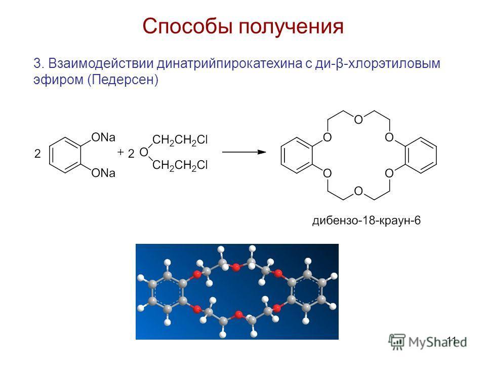 11 Способы получения 3. Взаимодействии динатрийпирокатехина с ди-β-хлорэтиловым эфиром (Педерсен)