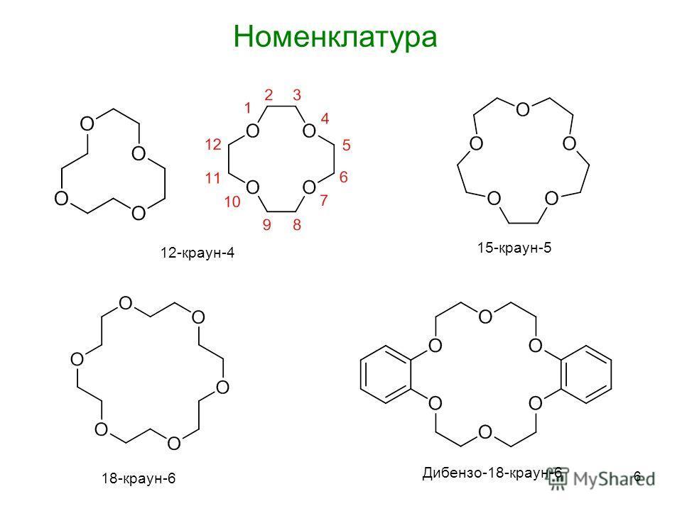 6 Номенклатура 12-краун-4 15-краун-5 18-краун-6 Дибензо-18-краун-6