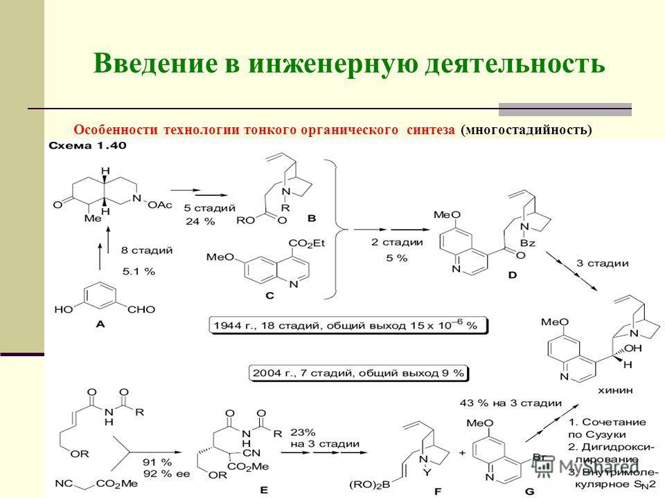 Введение в инженерную деятельность Особенности технологии тонкого органического синтеза (многостадийность)