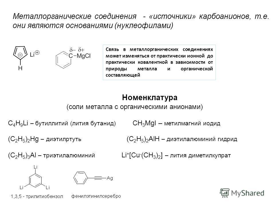Номенклатура (соли металла с органическими анионами) C 4 H 9 Li – бутиллитий (лития бутанид) CH 3 MgI – метилмагний иодид (С 2 H 5 ) 2 Hg – диэтилртуть (C 2 H 5 ) 2 AlH – диэтилалюминий гидрид (C 2 H 5 ) 3 Al – триэтилалюминий Li + [Cu - (CH 3 ) 2 ]