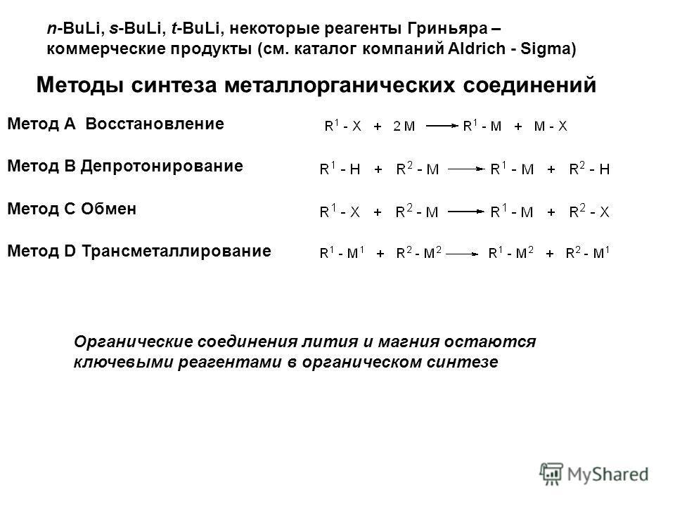 n-BuLi, s-BuLi, t-BuLi, некоторые реагенты Гриньяра – коммерческие продукты (см. каталог компаний Aldrich - Sigma) Методы синтеза металлорганических соединений Метод А Восстановление Метод В Депротонирование Метод С Обмен Метод D Трансметаллирование
