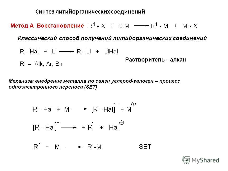 Синтез литийорганических соединений Метод А Восстановление Классический способ получений литийорганических соединений Механизм внедрение металла по связи углерод-галоген – процесс одноэлектронного переноса (SET) Растворитель - алкан