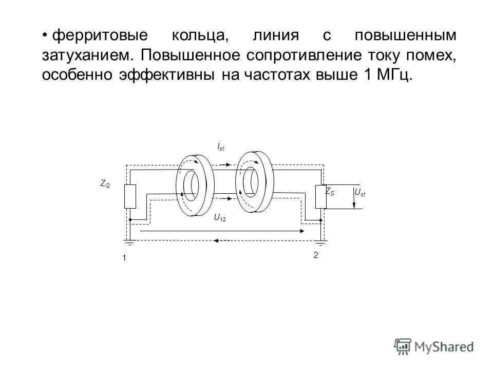 ферритовые кольца, линия с повышенным затуханием. Повышенное сопротивление току помех, особенно эффективны на частотах выше 1 МГц. ZQZQ 1 2 U 12 ZSZS U st I st