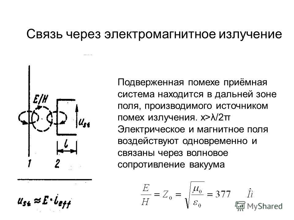Связь через электромагнитное излучение Подверженная помехе приёмная система находится в дальней зоне поля, производимого источником помех излучения. х>λ/2π Электрическое и магнитное поля воздействуют одновременно и связаны через волновое сопротивлени