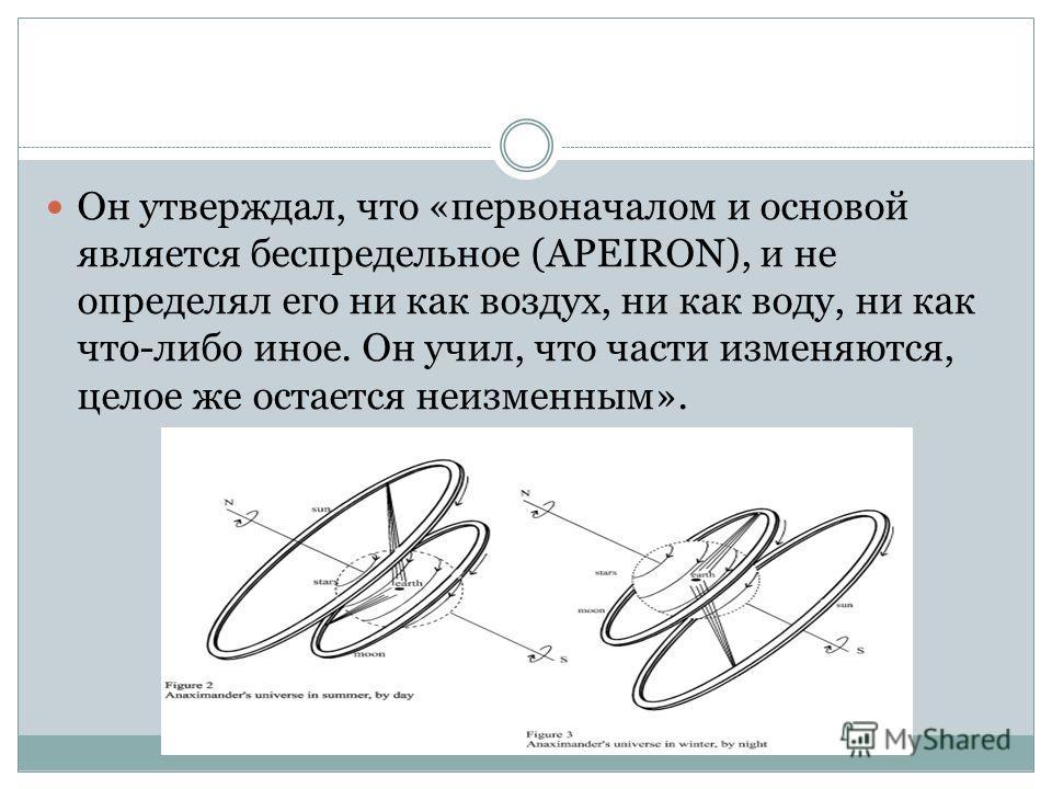Он утверждал, что «первоначалом и основой является беспредельное (APEIRON), и не определял его ни как воздух, ни как воду, ни как что-либо иное. Он учил, что части изменяются, целое же остается неизменным».