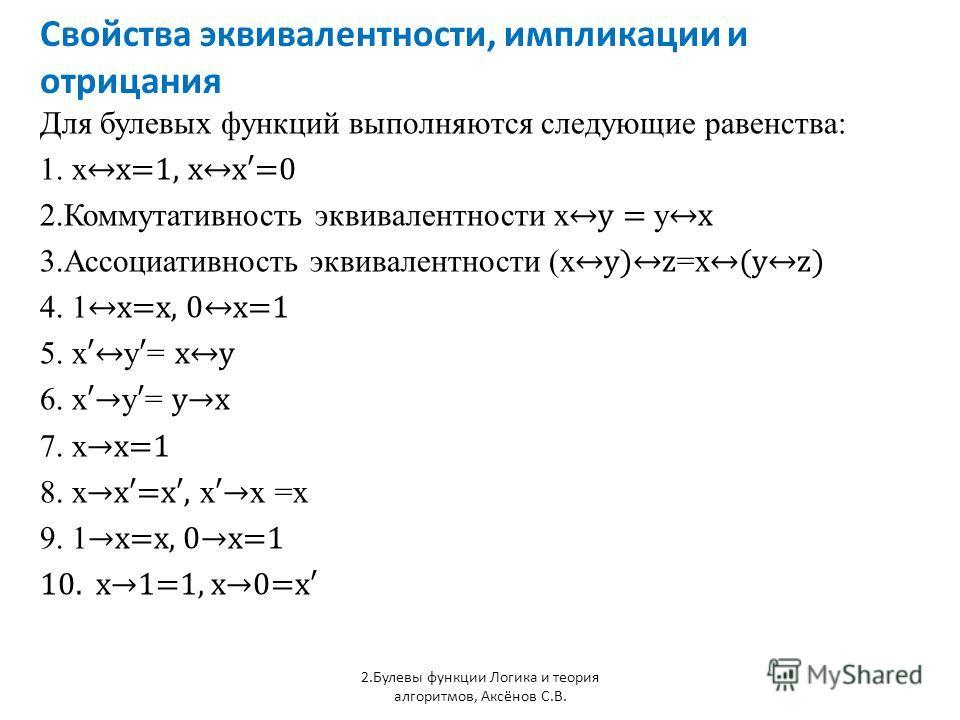 Свойства эквивалентности, импликации и отрицания 2.Булевы функции Логика и теория алгоритмов, Аксёнов С.В. Для булевых функций выполняются следующие равенства: 1. x x=1, xx=0 2.Коммутативность эквивалентности xy = y x 3.Ассоциативность эквивалентност