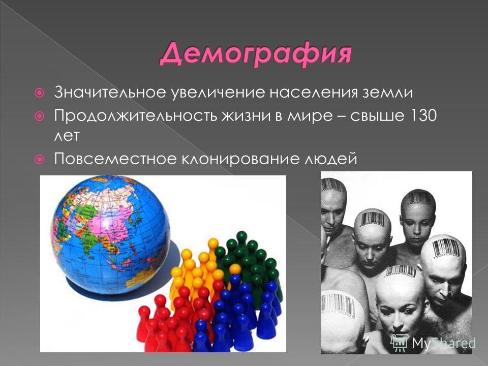 Значительное увеличение населения земли Продолжительность жизни в мире – свыше 130 лет Повсеместное клонирование людей