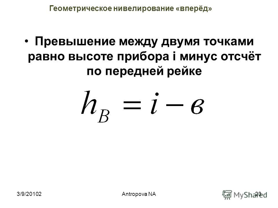 3/9/2010222Antropova NA Геометрическое нивелирование «вперёд»