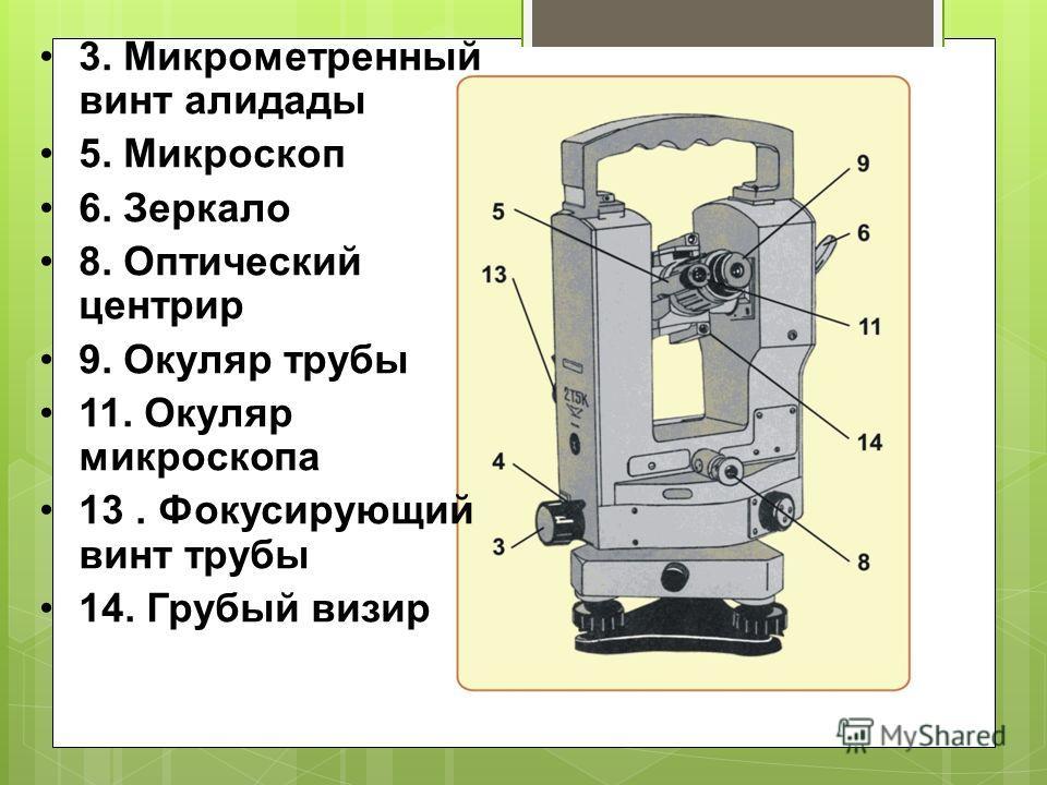 3. Микрометренный винт алидады 5. Микроскоп 6. Зеркало 8. Оптический центрир 9. Окуляр трубы 11. Окуляр микроскопа 13. Фокусирующий винт трубы 14. Грубый визир