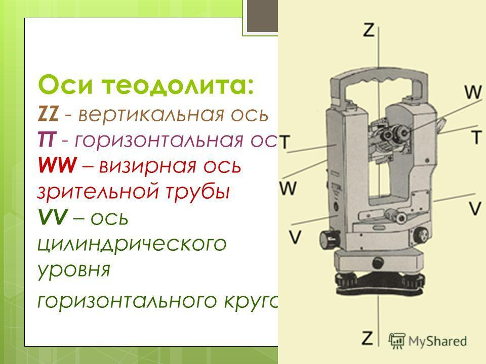 Оси теодолита: ZZ - вертикальная ось TT - горизонтальная ось WW – визирная ось зрительной трубы VV – ось цилиндрического уровня горизонтального круга