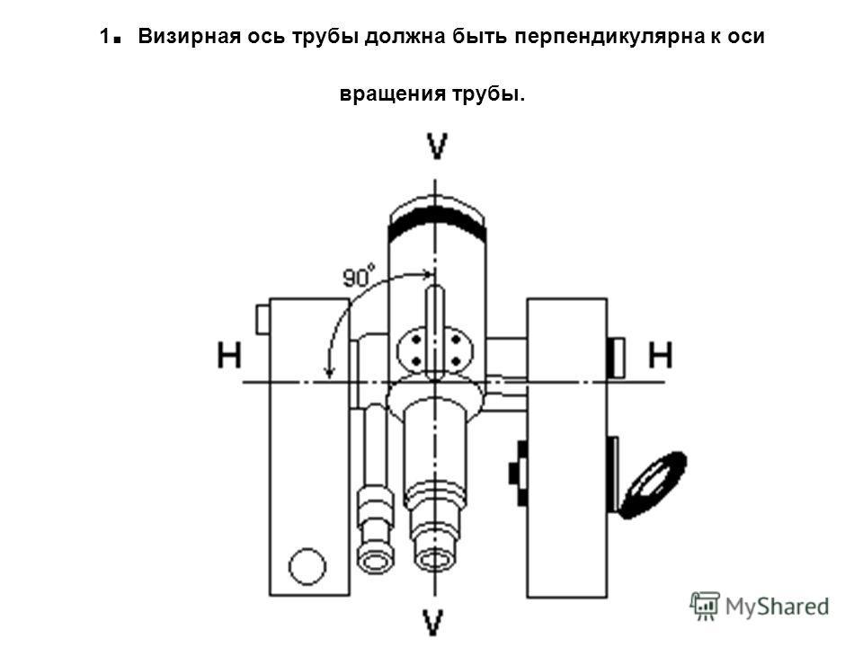 1. Визирная ось трубы должна быть перпендикулярна к оси вращения трубы.