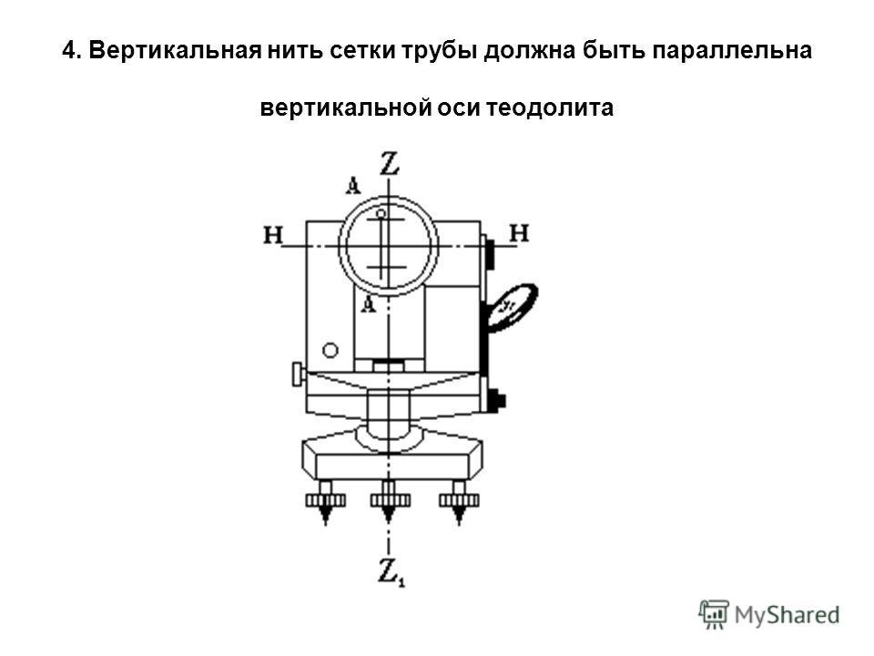 4. Вертикальная нить сетки трубы должна быть параллельна вертикальной оси теодолита