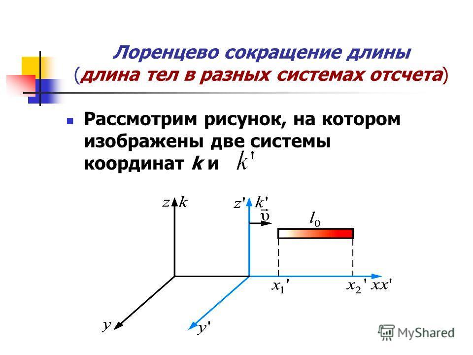 Лоренцево сокращение длины (длина тел в разных системах отсчета) Рассмотрим рисунок, на котором изображены две системы координат k и