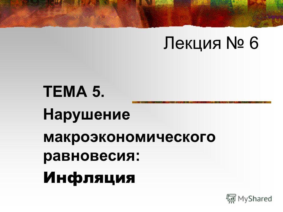 Лекция 6 ТЕМА 5. Нарушение макроэкономического равновесия: Инфляция