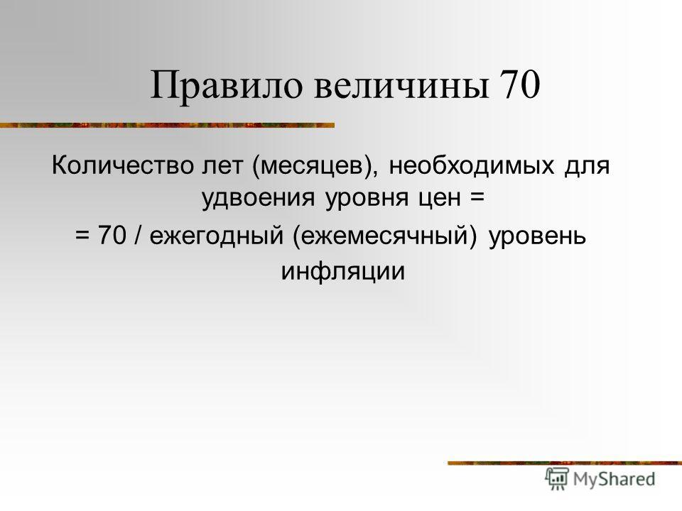 Правило величины 70 Количество лет (месяцев), необходимых для удвоения уровня цен = = 70 / ежегодный (ежемесячный) уровень инфляции