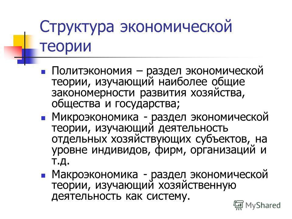 Структура экономической теории Политэкономия – раздел экономической теории, изучающий наиболее общие закономерности развития хозяйства, общества и государства; Микроэкономика - раздел экономической теории, изучающий деятельность отдельных хозяйствующ