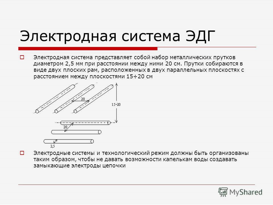Электродная система ЭДГ Электродная система представляет собой набор металлических прутков диаметром 2,5 мм при расстоянии между ними 20 см. Прутки собираются в виде двух плоских рам, расположенных в двух параллельных плоскостях с расстоянием между п