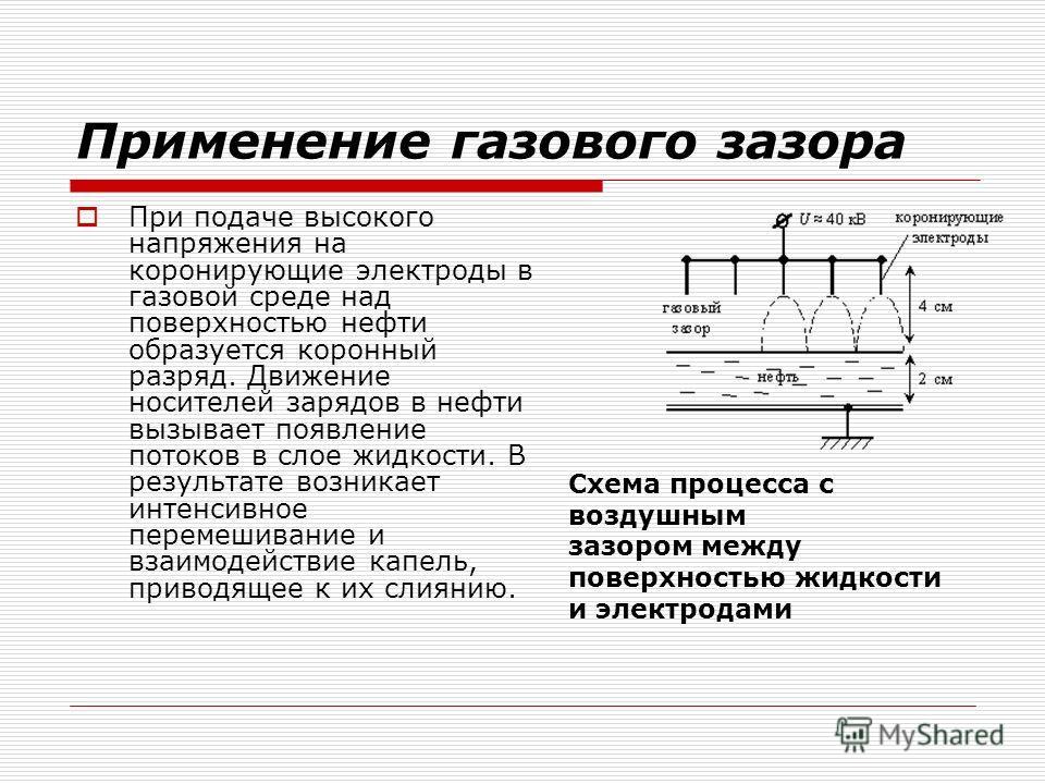 Применение газового зазора При подаче высокого напряжения на коронирующие электроды в газовой среде над поверхностью нефти образуется коронный разряд. Движение носителей зарядов в нефти вызывает появление потоков в слое жидкости. В результате возника