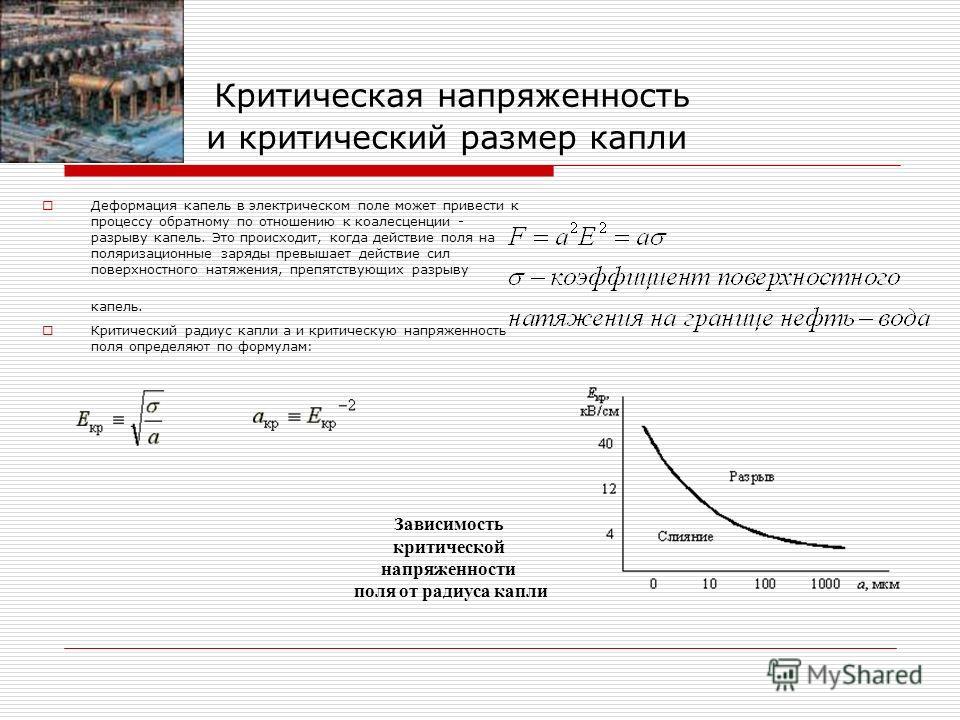 Критическая напряженность и критический размер капли Деформация капель в электрическом поле может привести к процессу обратному по отношению к коалесценции - разрыву капель. Это происходит, когда действие поля на поляризационные заряды превышает дейс