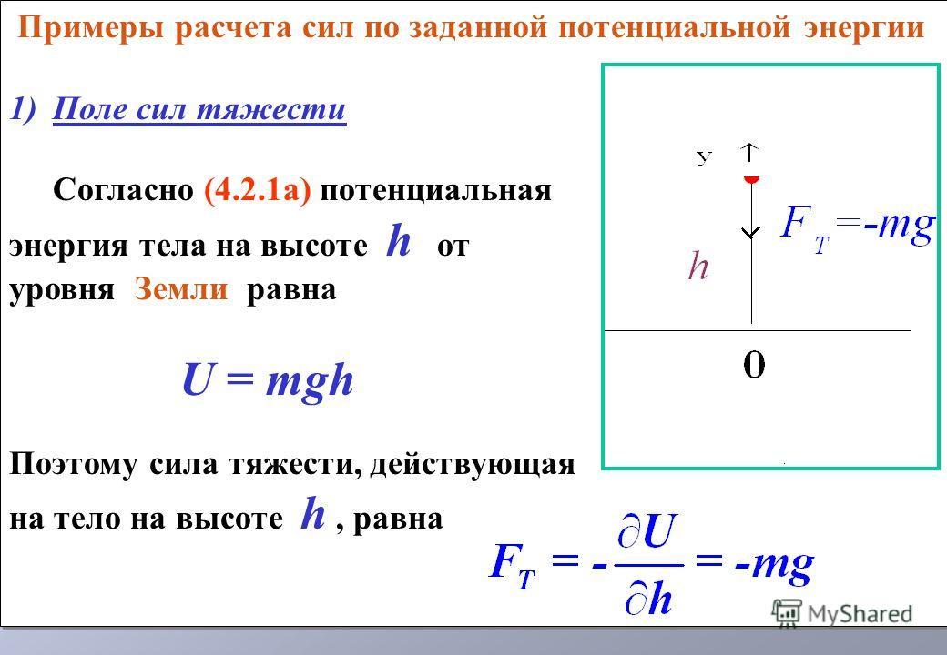 Примеры расчета сил по заданной потенциальной энергии 1)Поле сил тяжести Согласно (4.2.1а) потенциальная энергия тела на высоте h от уровня Земли равна U = mgh Поэтому сила тяжести, действующая на тело на высоте h, равна Примеры расчета сил по заданн