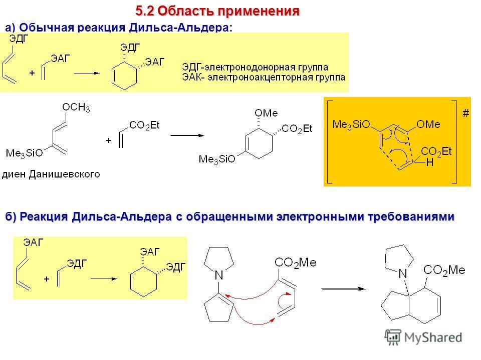 5.2 Область применения а) Обычная реакция Дильса-Альдера: б) Реакция Дильса-Альдера с обращенными электронными требованиями